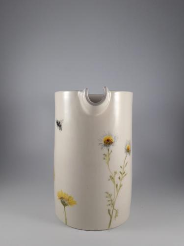 Flower and bees pitcher