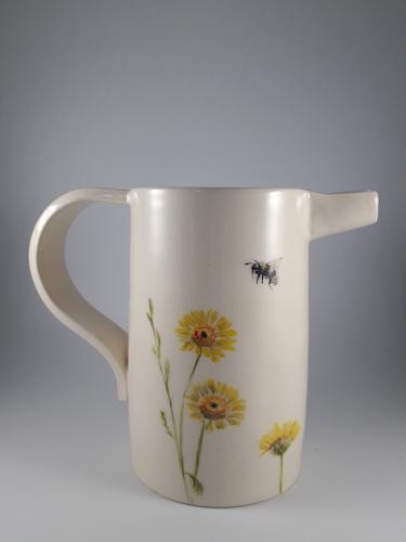 Flowers and bees pitcher
